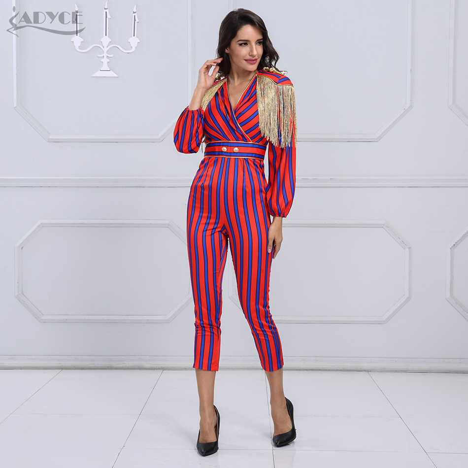 cc0b55392aae ... Adyce New Runway Fringe Jumpsuits For Women 2019 Celebrity Party  Jumpsuit Long Sleeve Red Blue Striped ...