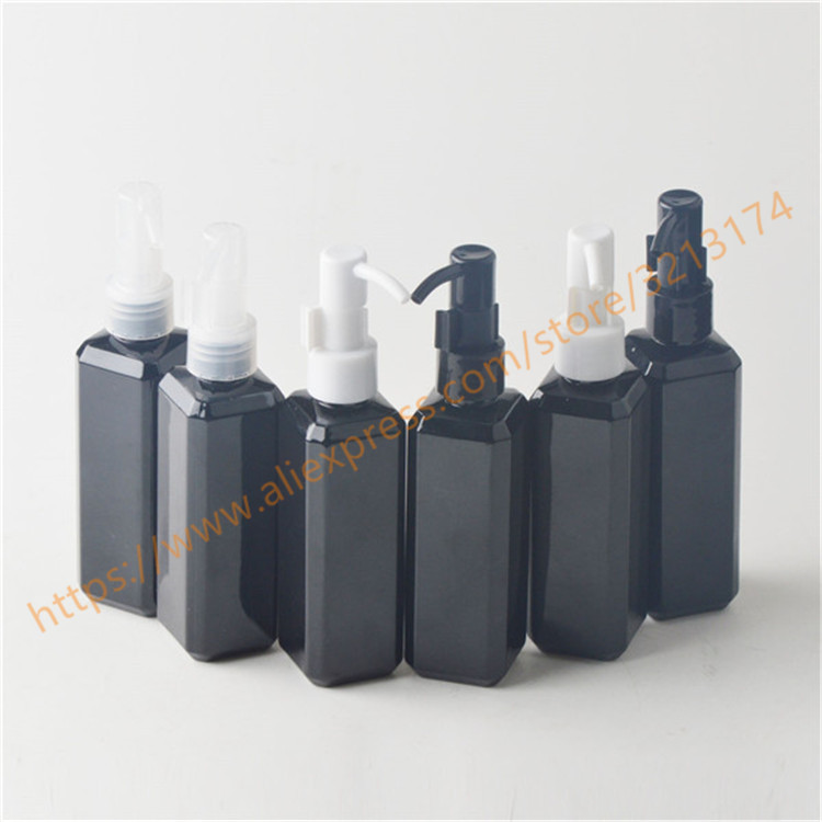 100ml shiny black square PET bottle with plastic pump for lotion hand wash Shampoo moisturizer facial