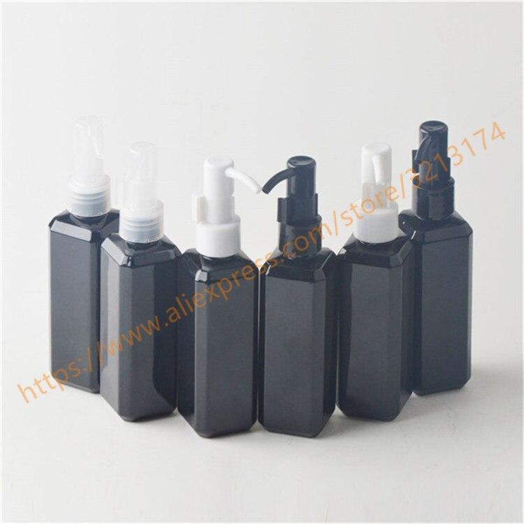 Güzellik ve Sağlık'ten Doldurulabilir Şişeler'de 100 ml parlak siyah kare PET şişe plastik pompa ile. losyon/el yıkama/Şampuan/nemlendirici/yüz su PET şişe'da  Grup 1