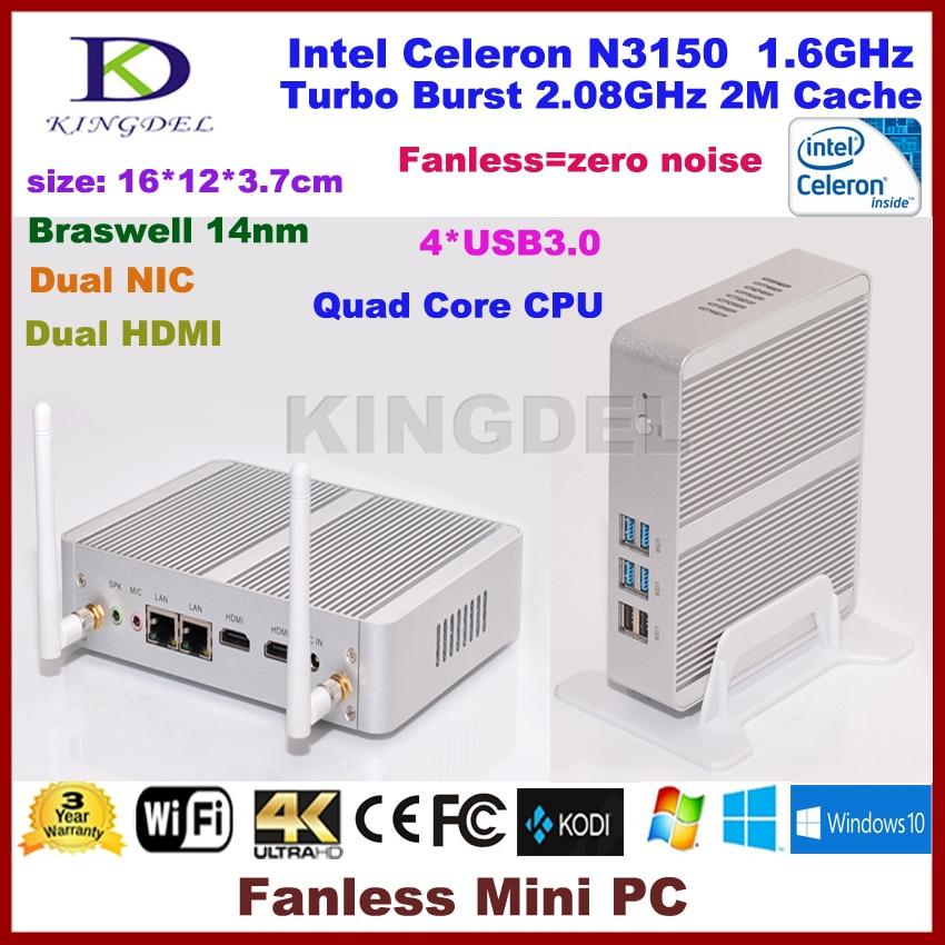 Kingdel Newest Intel Celeron N3150 Fanless Mini PC Windows HTPC TV Box 1080P 4GB RAM HDMI VGA WiFi OpenELEC Mini Computer kingdel new arrival intel i3 7100u fanless mini pc windows 10 linux desktop computer 4k htpc hdmi vga max 16g ram no noise