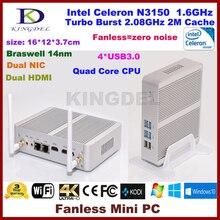 Kingdel новые Celeron Intel N3150 безвентиляторный мини-ПК Windows HTPC TV Box 1080 P 4 ГБ Оперативная память HDMI VGA WiFi OpenELEC мини-компьютер