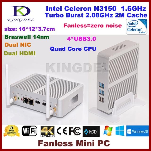 Kingdel mais novo intel celeron n3150 htpc fanless mini pc com windows Caixa De TV 1080 P 4 GB RAM HDMI VGA Wi-fi OpenELEC Mini computador