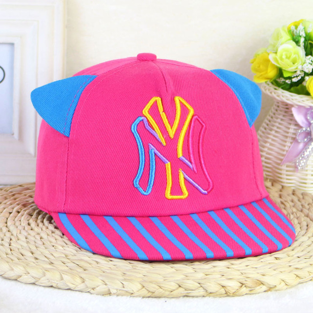 ba6afd4dbcdd01 Boy and Girl Baby NY Letter Embroidery Flat Edge Hip Hop Children Baseball  Cap Cat Ears Striped Cap