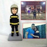 custom handmade fireman doll resin polymer clay dolls figure doll face from photos boyfriend husband gift idea chrismas gift