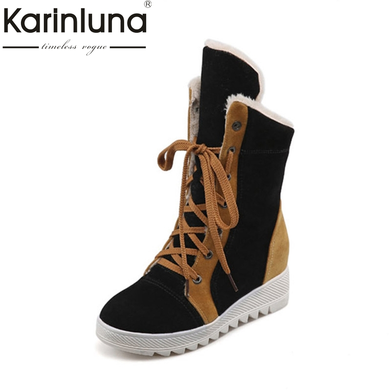 KARINLUNA 2018 large size 34-43 lace up 4 mixed colors Shoes Woman Add Warm Fur Platform winter Shoes women snow Boots plushKARINLUNA 2018 large size 34-43 lace up 4 mixed colors Shoes Woman Add Warm Fur Platform winter Shoes women snow Boots plush