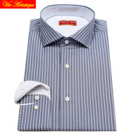 men's long sleeve white grey pin striped dress shirts male tailored 6789 XL business office cotton slim fit 2018 spring summe