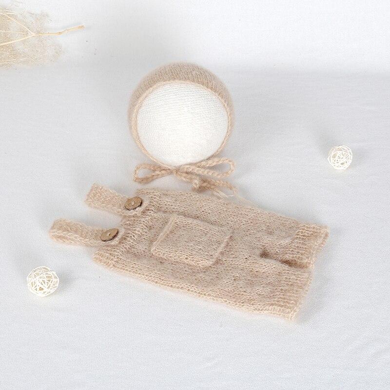 Santa Clothes Beige Newborn Romper Bonnet set Crochet Mohair baby girl Jumpsuit Outfit Photography props