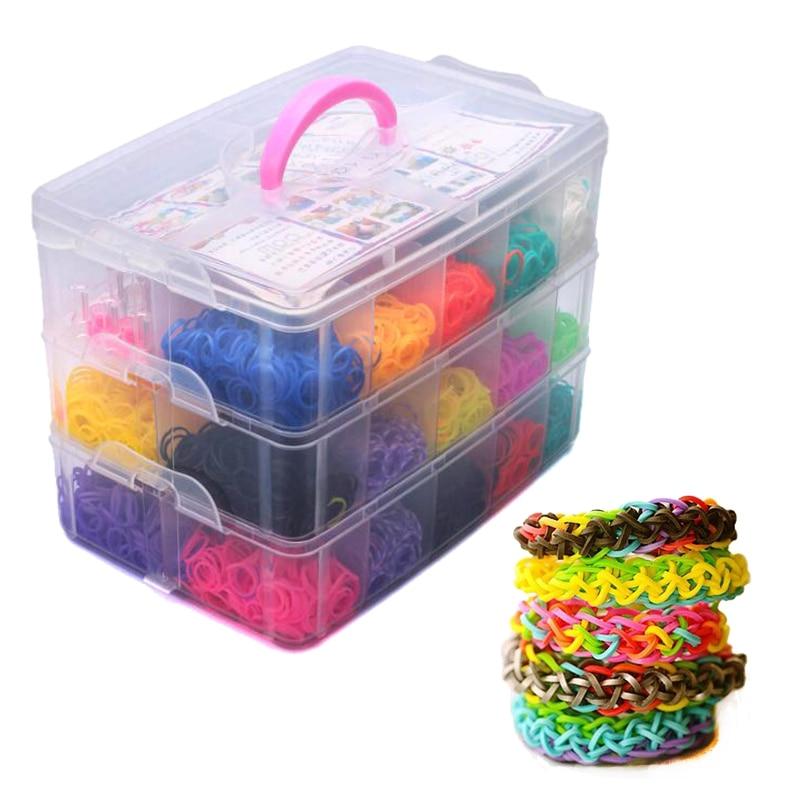 Loom Bands Colorful Rubber Loom Band Box Girls Gift Charmes Bracelet Making Kit