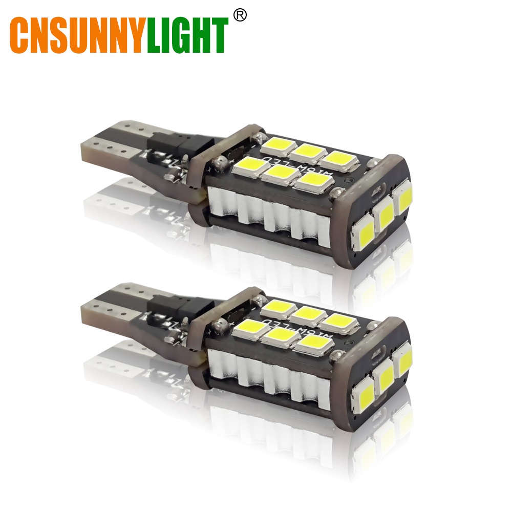 CNSUNNYLIGHT Guaranteed W16W T15 Car LED Bulbs Replacement for Auto Backup Reverse Turn Signal Light Brake Fog Lamps Error Free 2pcs high quality superb error free 5050 smd 360 degrees led backup reverse light bulbs t20 for hyundai i30