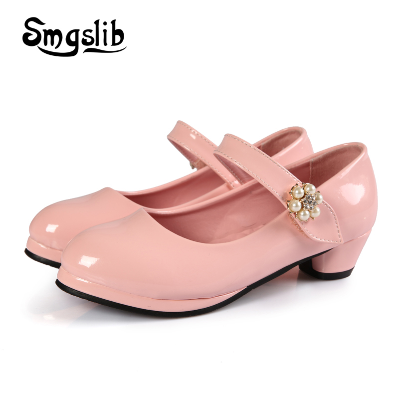 Girls pink shoes princess leather kids dance party pearl flower shoes toddler girls flats wedding School children flats Shoes