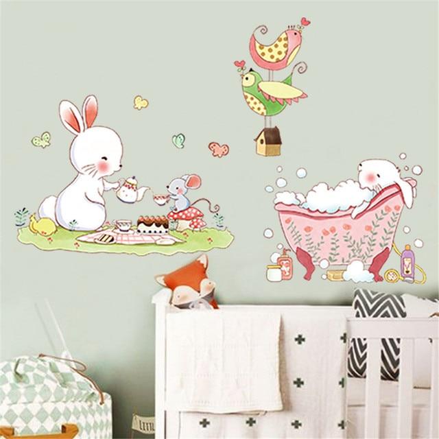 cartoon cute rabbit wall stickers children's bedroom nursery