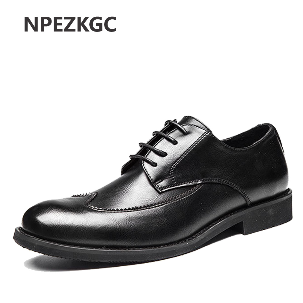 NPEZKGC Brogue Business Formal Dress Men Leather Shoes Luxury Brand Shoes For Men Classic Office Wedding Mens Oxfords Casual hot sale luxury brand men classic oxfords italian mens leather dress shoes new men formal shoes black white patch flowers 39 46