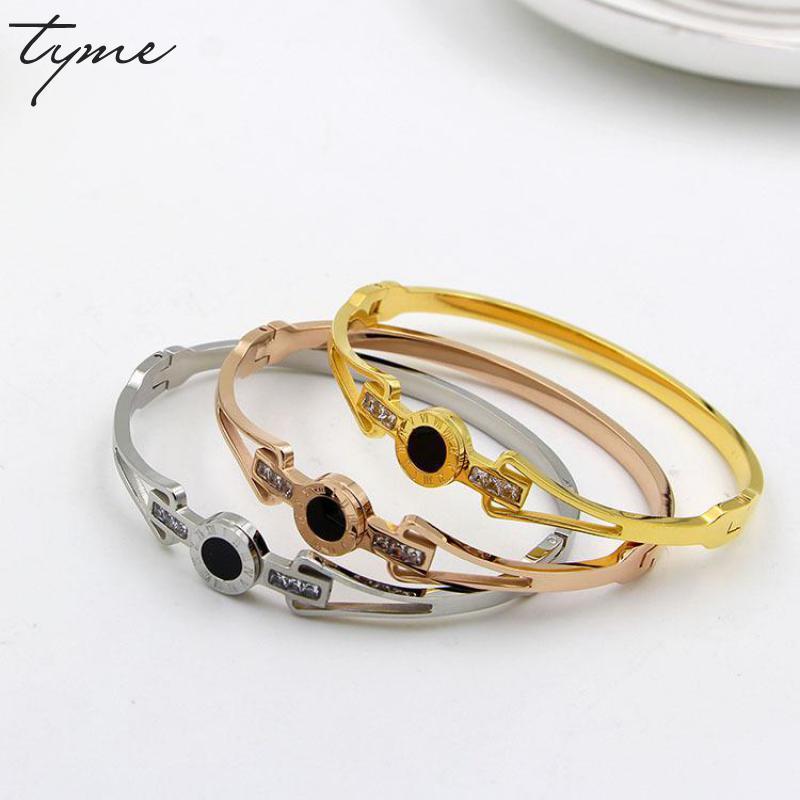 Fashion Stainless Steel Hollow Roman Numeral Love Bangle Bracele Black Button Bracelets For Women Titanium Jewelry Accessories