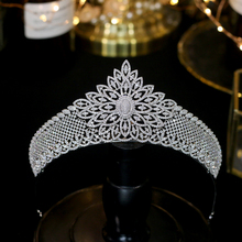 Asnora European wedding elegant cubic zircon wedding headdress silver flowers bridal accessories hair accessories gifts