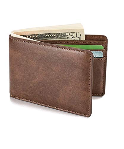 Men/'s Magic Bifold Leather Wallet Slim Money Clip Front Pocket Wallet RFID Block