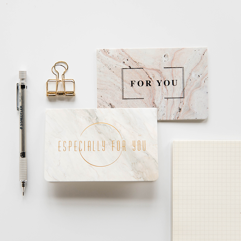 1pc DIY Creative Marble Texture Fashion Bronzing Greeting Card Envelope Invitation Wedding Thanks Birthday Card Gift Supply