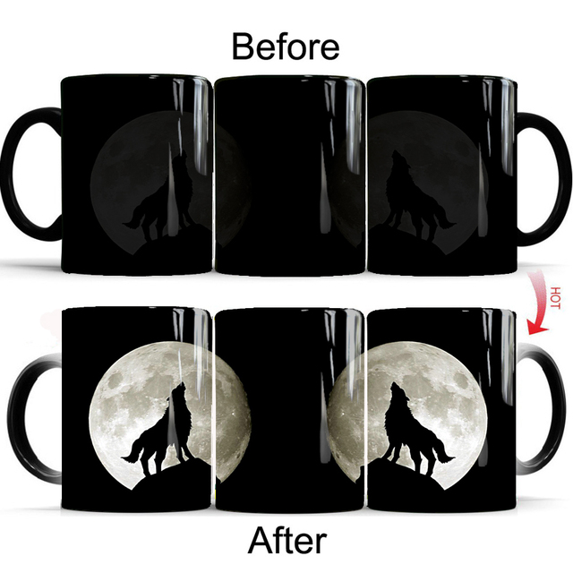 US $3 59 7% OFF wolf tiger panth Mug creative coffee mugs color changing  mug cup husband birthday mug best gift for your friends-in Mugs from Home &