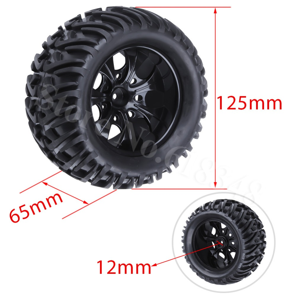 4Pcs 125mm RC Tires & Plastic Wheel Rims Foam Inserts For 1/10 Monster Truck Tyres HSP HPI Traxxas Himoto Redcat Kyosho Tamiya 4pcs rc monster truck wheel rim tires kit for 1 10 traxxas tamiya hsp hpi kyosho rc trucks car rubber tyre parts