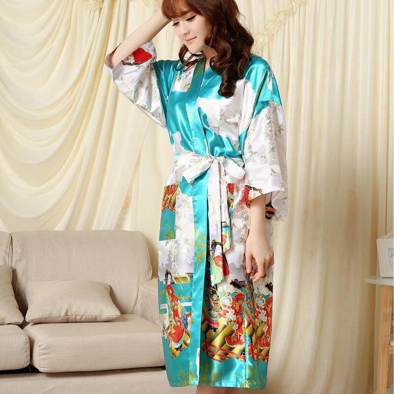 Lake blue Fashion Chinese Womens Polyester Satin Painted Kaftan Peri Kimono Bath Robe Gown Bathrobe With Belt
