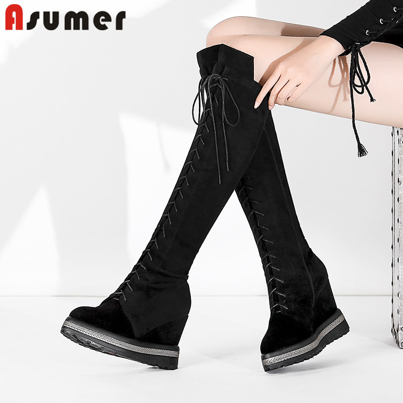 ASUMER black fashion hot sale new knee high boots women pointed toe lace up boots wedges suede leather boots classic lady shoes ASUMER black fashion hot sale new knee high boots women pointed toe lace up boots wedges suede leather boots classic lady shoes