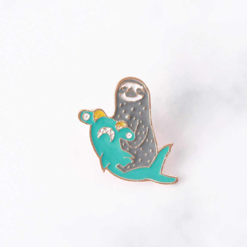 Sloth และ Hammerhead Shark Enamel Pin น่ารัก Kawaii สัตว์ป้ายเข็มกลัด Lapel Pin สำหรับกางเกงยีนส์กระเป๋าเสื้อการ์ตูนตลก jewel