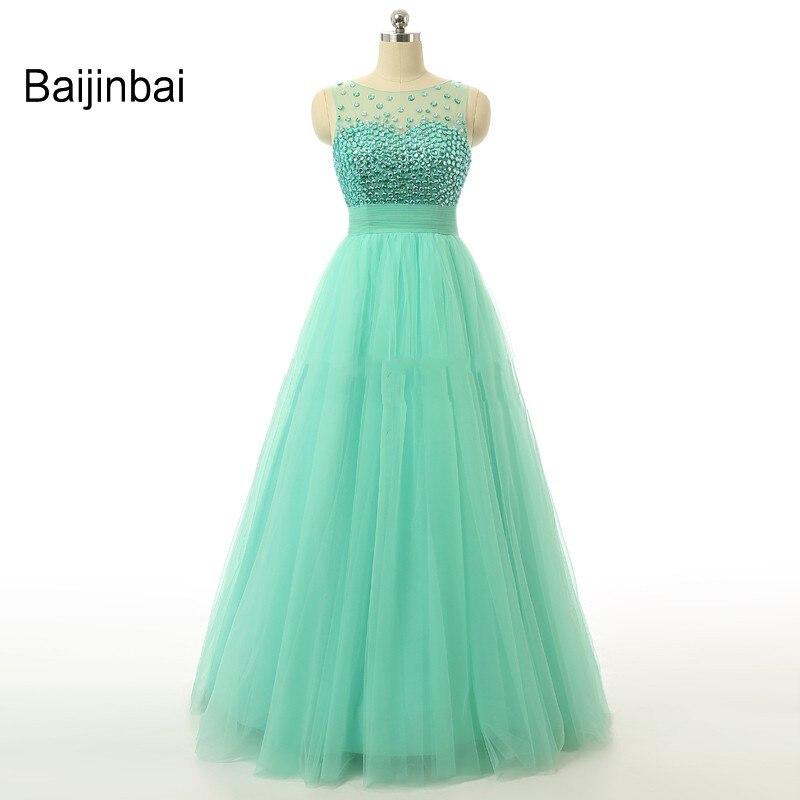 10615edff1c91 Baijinbai Gerçek Örnek Gelinlik 2018 Zarif Kristal Kolsuz Bir Çizgi Uzun  Abiye giyim Vestidos De Dresses Resmi Elbiseler