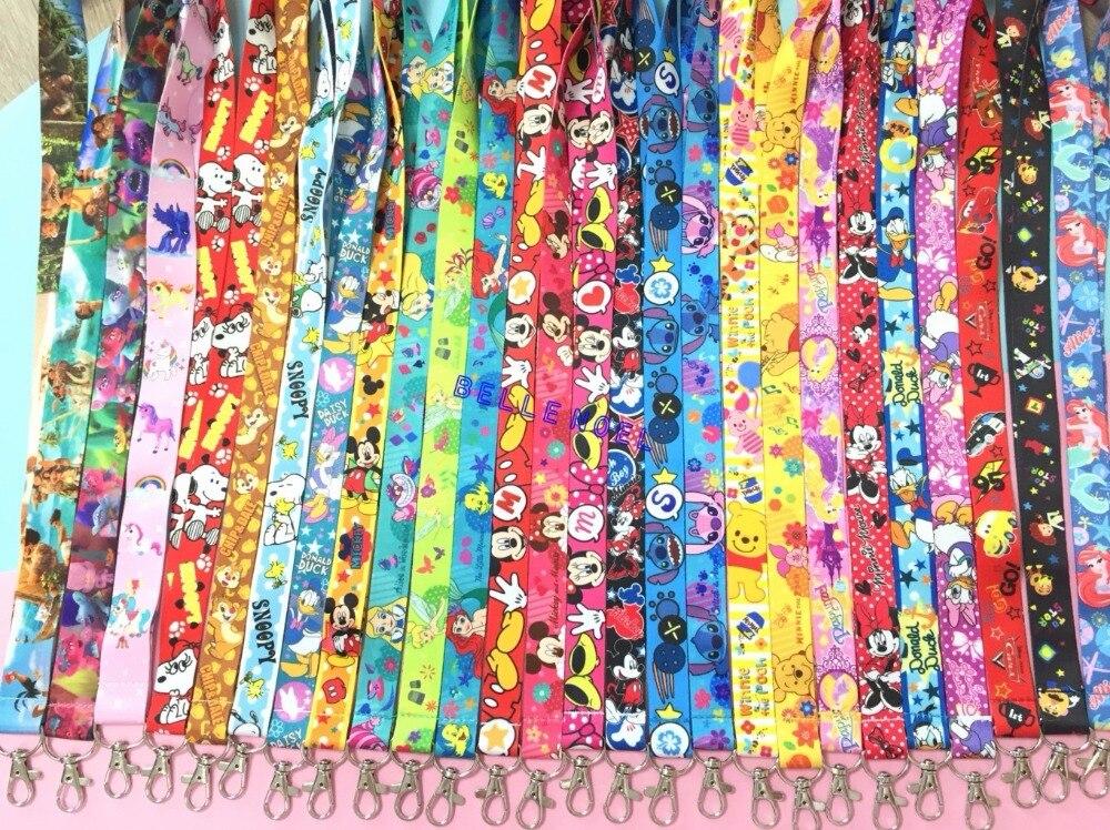 100 Pz Moana Mickey principessa stitch Minnie mix popolare Anime Del Fumetto Collo Cinghie Portachiavi key ID Card L630-in Portachiavi da Gioielli e accessori su  Gruppo 1