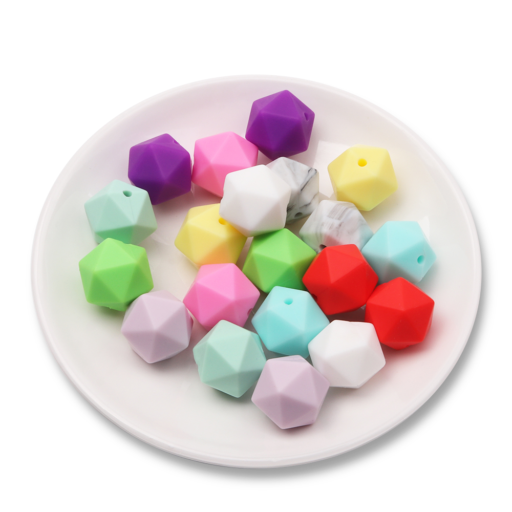 Hu 100 Pcs/lot 14mm Icosahedron Geformt Silikon Perlen Zahnen Baby Beißring Kautable Silikon Perlen Bpa Frei Zahnen Spielzeug SorgfäLtige FäRbeprozesse Mutter & Kinder Tyry Zahnärztliche Versorgung