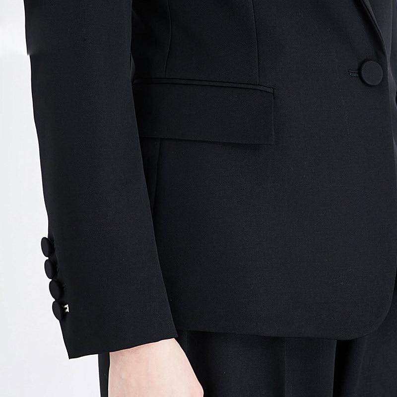 Two Piece Ladies Formal Pant Suit Office Uniform Designs Women Business Suits Black Blazer For work Autumn Wear