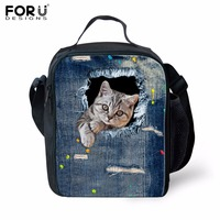 FORUDESIGNS Hot Sale 3D Cute Denim Cat Dog Lunch Bag for Baby Kids Insulated Lunch Box Thermal Picnic Children Food Bag Bolsa