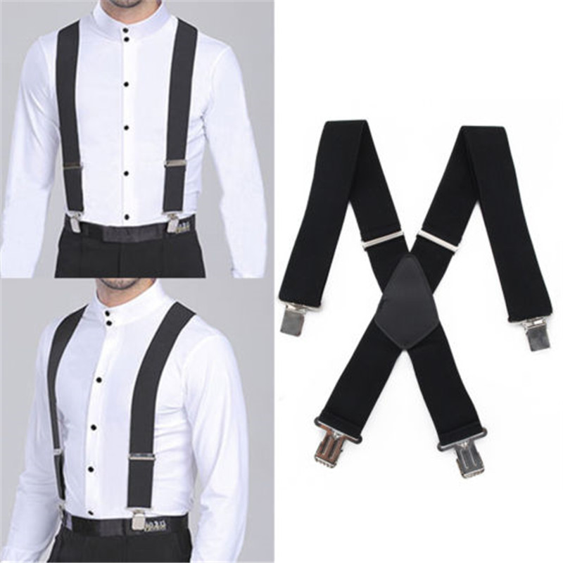 50MM Men's X-Back 4 Clips Suspenders Adjustable Elastic Retro Formal Pants Large