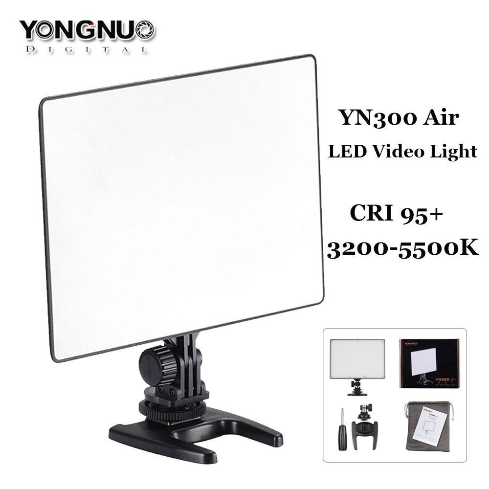 YONGNUO YN300 Air Ultra Thin CRI 95+LED Panel Video Light YN-300 Air 3200K-5500K with AC power Adapter for Canon Nikon Camcorder