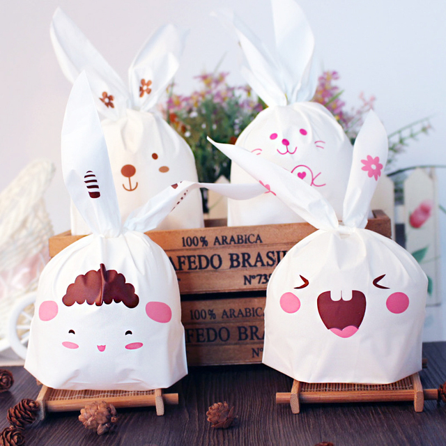 50pcs Set Cute Bunny Cookies Bags Wedding Decoration Lovely Easter Rabbit Ear Plastic Candy Bag