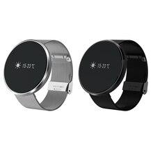 Bluetooth 4.0 Приборы для измерения артериального давления Напульсники шагомер сердечного ритма Мониторы Смарт часы с Сенсорный экран Сталь ремень для iOS и Android