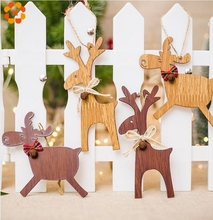 1PCS Christmas 2 Types Deer Wooden Xmas Tree Ornaments Kid Gift Pendants Ornaments DIY Ornaments For Christmas Party Decoration