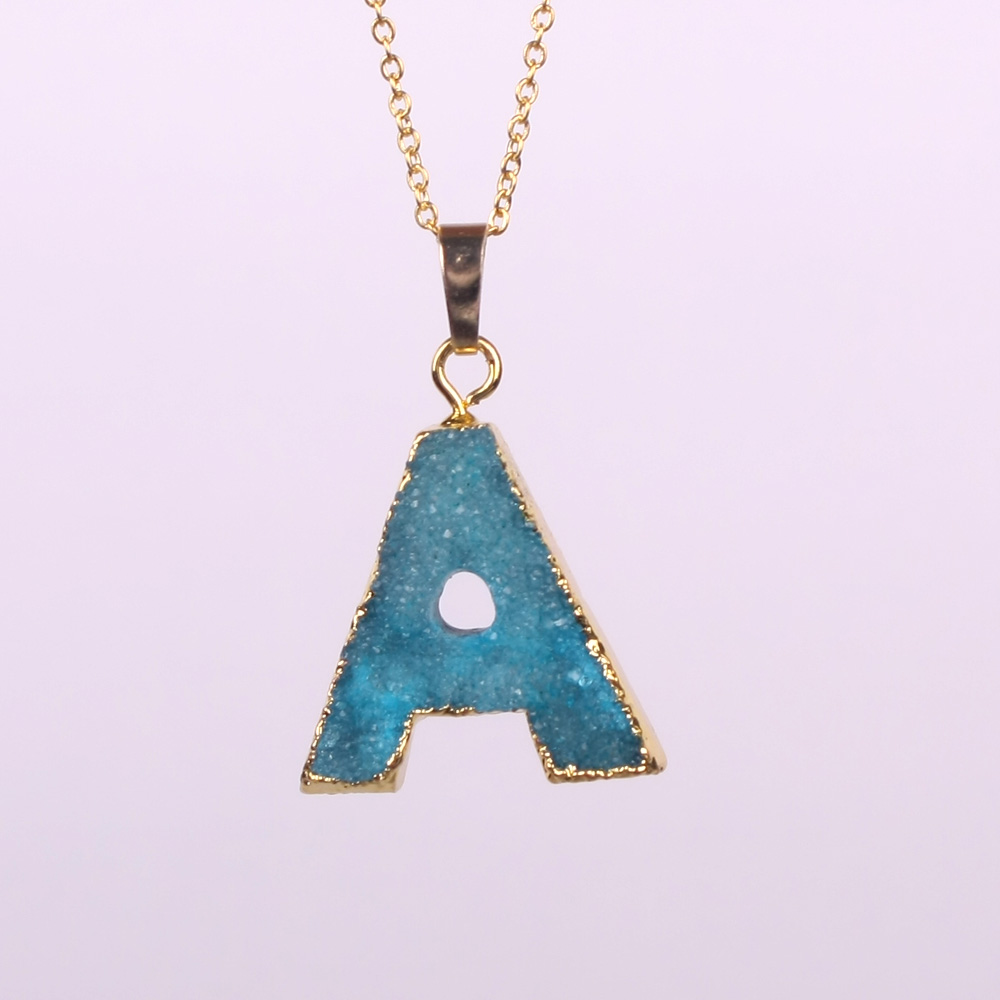 Hot fashion handmade alphabet letter charms number a z letters hot fashion handmade alphabet letter charms number a z letters nature stone drusy druzy pendant necklaces for women gifts in pendant necklaces from jewelry aloadofball Images