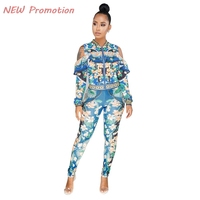 3 Color Hollow Ruffles Sleeve Pants Outfit Fall Sets Women Clothing Sets Two Pieces Zipper Suit Sexy Tracksuit Lady Clothes Set