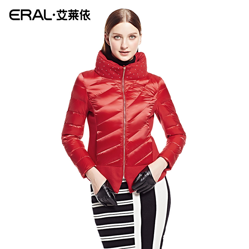 1f498dd8deb ERAL Winter Women s Slim Rivet Wool Patchwork Stand Collar Down Jacket Coat  ERAL2022D-in Down Coats from Women s Clothing on Aliexpress.com