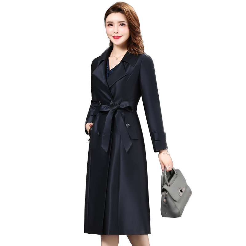 Plus size 5XL Middle-aged mother Spring Autumn Long Windbreaker 2019 Women's fashion High-quality Double Breasted   Trench   coat
