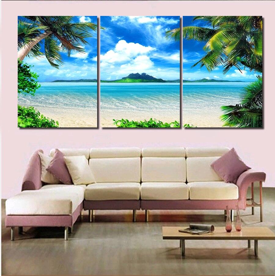 ①2016 Nuevo 3 panel moderno impreso paisaje marino mar óleo pintura ...