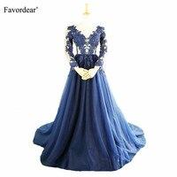 Favordear Темно синие аппликация с О образным вырезом вечернее платье Vestidos вечернее банкет прозрачная торжественное платье вечерние платья Для