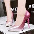 Frete grátis primavera moda apontou toe sapatos de salto alto das mulheres cores do gradiente estranho calcanhar boca rasa sapatos único