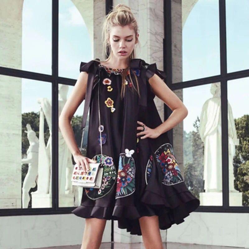 c992420ba7 High Quality Luxury Embroidery Women s Dress Runway Designer Floral Irregular  2018 Summer Mini Female Vintage Party