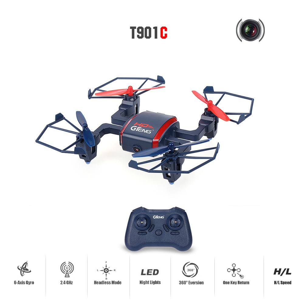 RC drone Toy T901C 4CH 6-Axis with 2.0MP Camera Remote control rc Quadcopter RTF Headless Mode 3D Flips mini drone toy kid gift l6052w wifi fpv rc drone with hd camera 2 4g 4ch 6 axis gyro rc quadcopter with led light realtime drone remote control toy gift