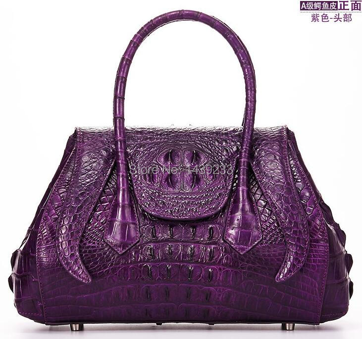 100% genuine crocodile skin leather women handbag, Alligator Skin Womens Tote Bag, Purple цена