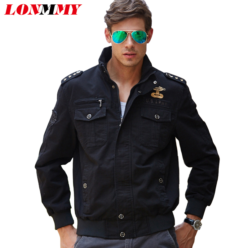 LONMMY M-4XL Brand clothing Bomber jacket men coat Cotton Jaquetas masculina Military men jacket coat Army green Kahki Casual
