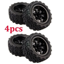 4 PCS Off-Road Tires Set Tyre Wheel Rim For HPI HSP Traxxas 1:10 RC Monster Bigfoot Car Buggy Tires