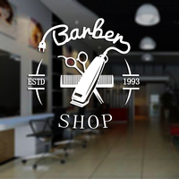 Man Barber Shop Sticker ESTD Chop Bread Decal Haircut Hair Clipper Shavers Poster Vinyl Wall Art