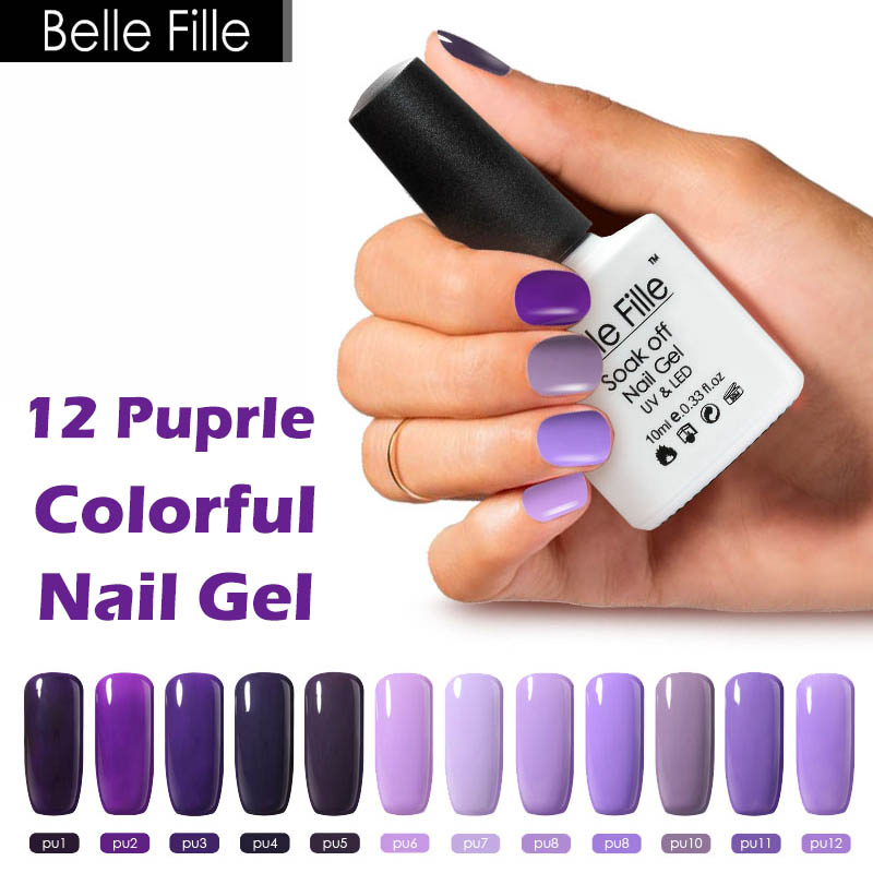 Purple Gel Nail Polish: Belle Fille 10ml Purple Color System Nail Gel Polish