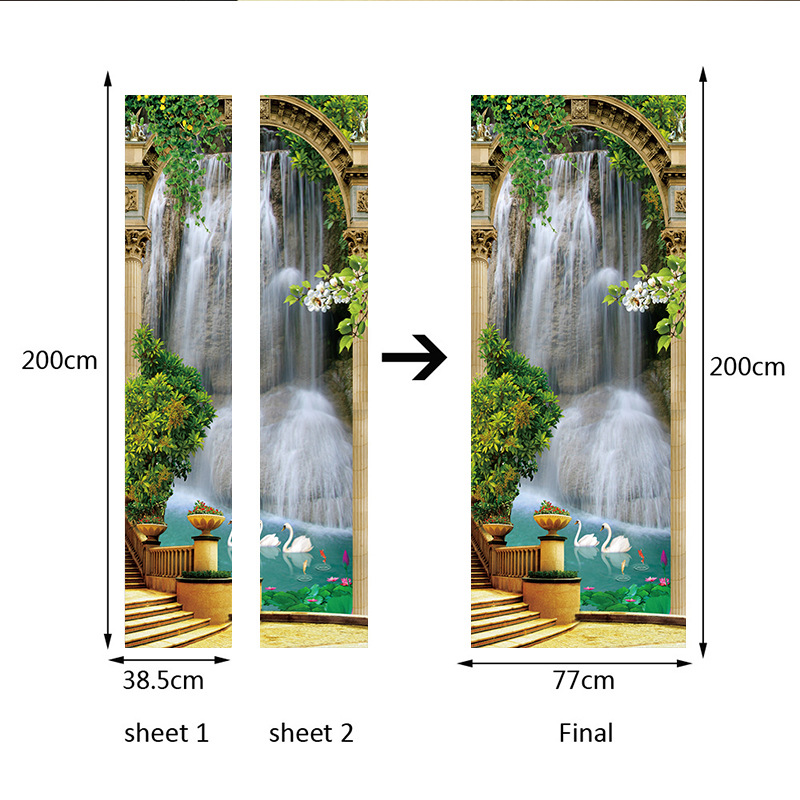 Image 2 - Scenic Door Murals Forest Wall Mural Door Decals Door Wall Sticker Waterfall Mural Door Wall Stickers Wallpaper Mural DIY Home-in Wall Stickers from Home & Garden